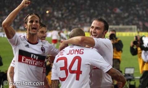 Esultanza squadra Bologna-Milan